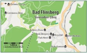 Kuren in Polen: Lageskizze Altes Kurhaus in Bad Flinsberg