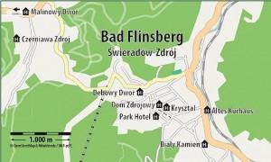 Kuren in Polen: Lageplan des Hotel und Medi Spa Bialy Kamien in Bad Flinsberg Swieradow Zdroj Isergebirge