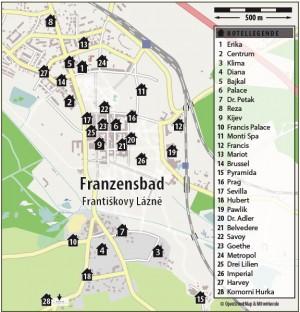 Kuren in Tschechien: Lageskizze des Kurhaus Belvedere in Franzensbad (Frantisvoky Lázne)