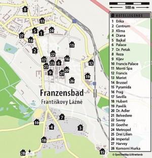 Kuren in Tschechien: Lageskizze des Kurhaus Sevilla in Franzensbad Frantiskovy Lazne