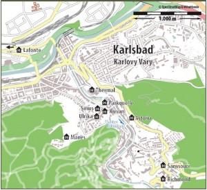 Kuren in Tschechien: Lageplan des Kurhaus Kriván in Karlsbad Karlovy Vary Westböhmen
