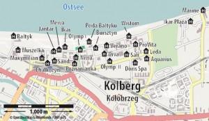 Kuren in Polen: Lageplan des Kurhaus Olymp 2 in Kolberg Kolobrzeg Ostsee