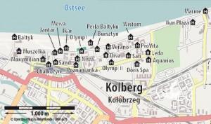 Kuren in Polen: Lageplan des Sanatorium San in Kolberg Kolobrzeg Ostsee