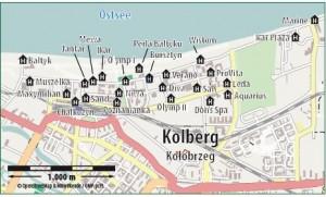 Kuren in Polen: Lageskizze des Kurhaus Muszelka in Kolberg Kolobrzeg Ostsee