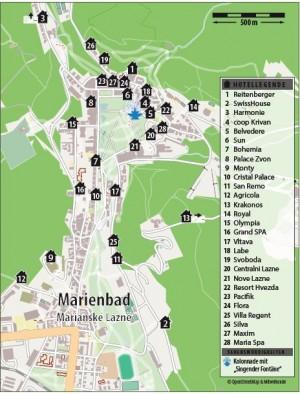 Kuren in Tschechien: Lageplan vom Kurhotel Svoboda in Marienbad Mariánské Lázně