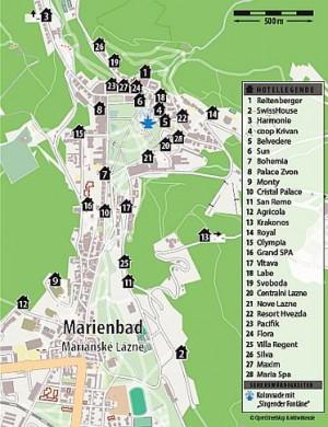 Kuren in Tschechien: Lageskizze vom Ensana Health Spa Hotel Centrálni Lázne in Marienbad