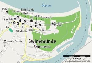 Kuren in Polen: Lageplan des Hotel Avangard und Panorama in Swinemünde