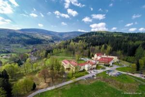 Kuren in Polen: Luftaufnahme der Klinika Mlodosci Medical SPA Bad Flinsberg Isergebirge