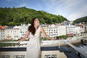 Kuren in Tschechien: Blick vom Balkon des SPA Hotel Dvorak in Karlsbad Karlovy Vary