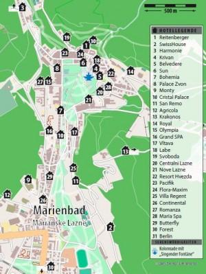 Kuren in Tschechien: Lageplan des Kurhotel Berlin in Marienbad Mariánske Lázne