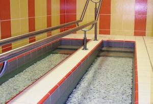 Kuren in Tschechien: Wassertreten im Kurhotel Radium Palace in St. Joachimsthal Jáchymov